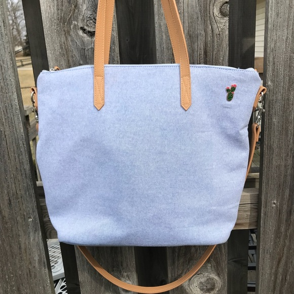 449ca0eb6e3 Old Navy Bags   Chambray Canvas Tote With Cactus Pin   Poshmark